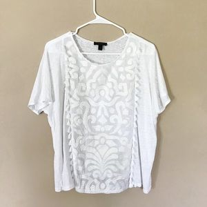 J crew white tassel embroidered top
